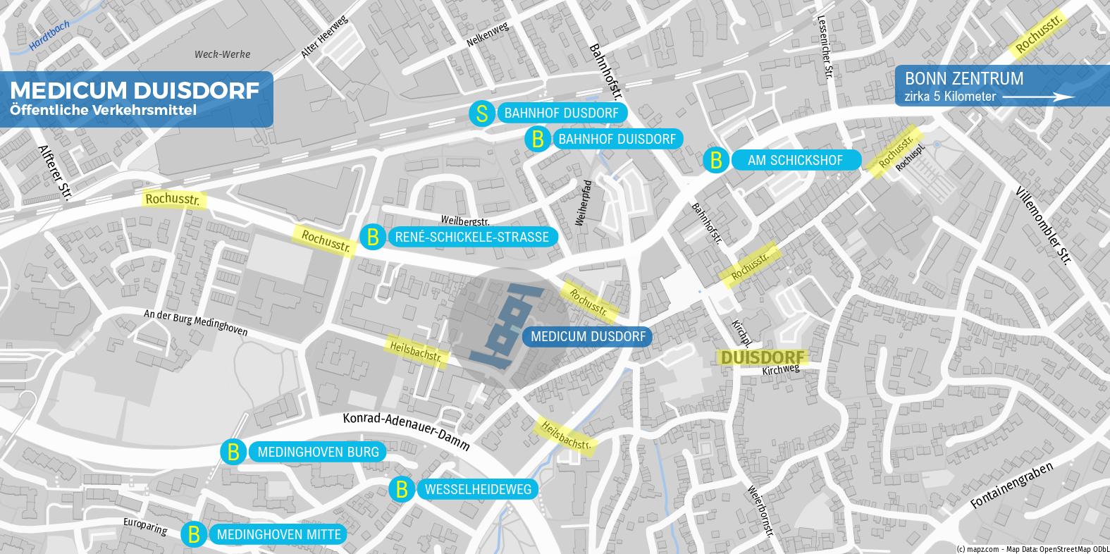 Medicum Bonn Duisdorf - Erreichbarkeiten mit öffentlichen Verkehrsmitteln